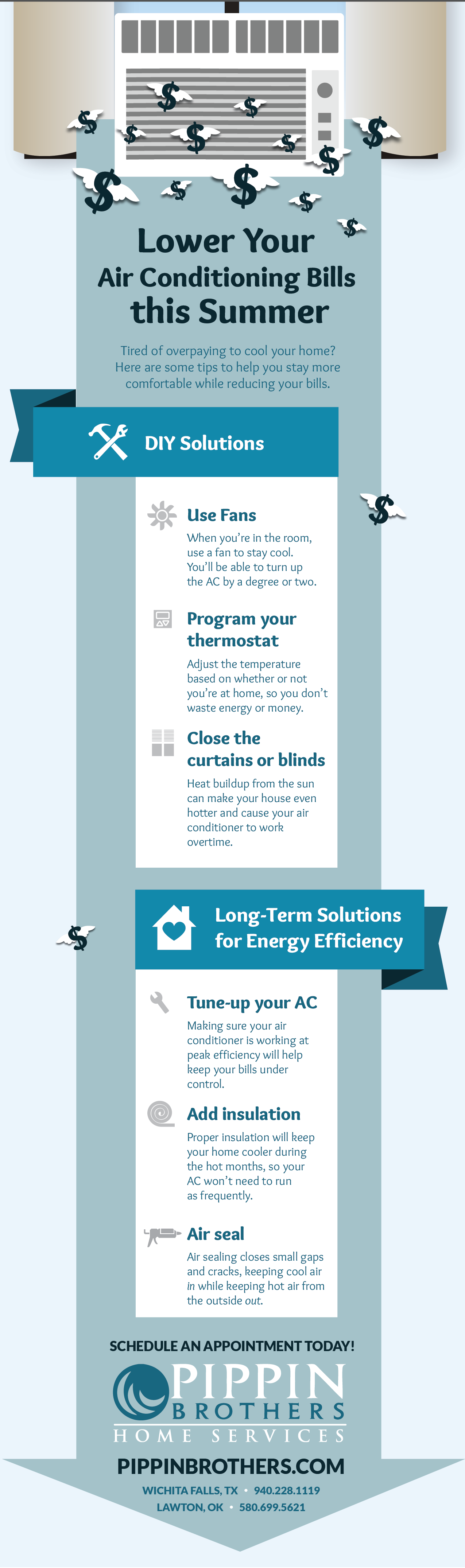 Ways to Lower Your Air Conditioning Bills this Summer Infographic