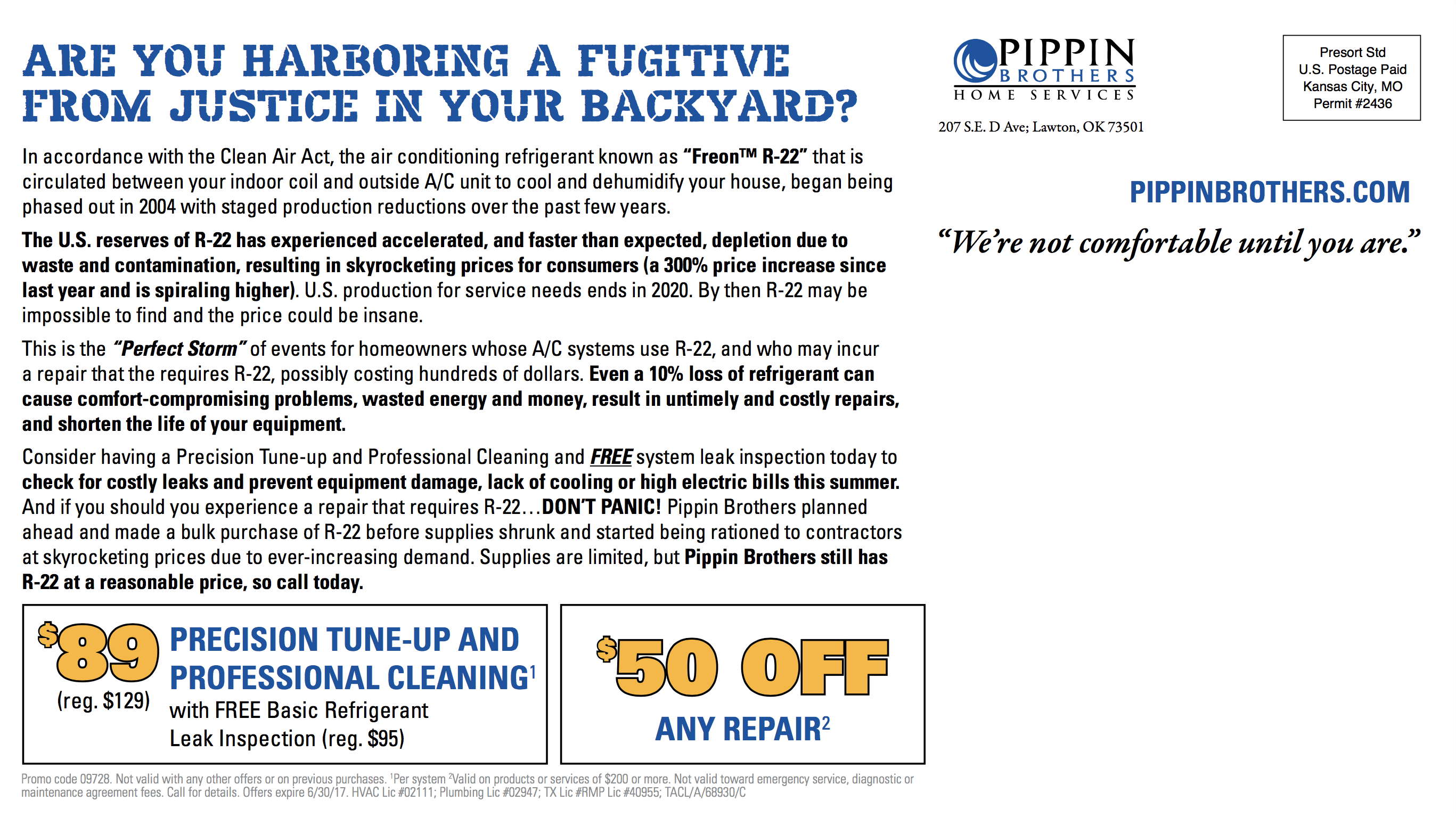Pippin Brothers offers Air Conditioning Tune-Up & Freon 22 Check for homeowners in Lawton, Oklahoma and Wichita Falls, Texas