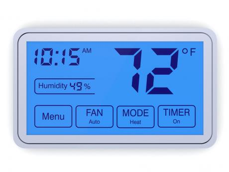 Thermostat showing indoor humidity level