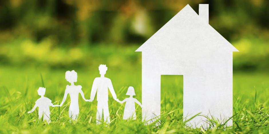 illustration of family entering a healthy home
