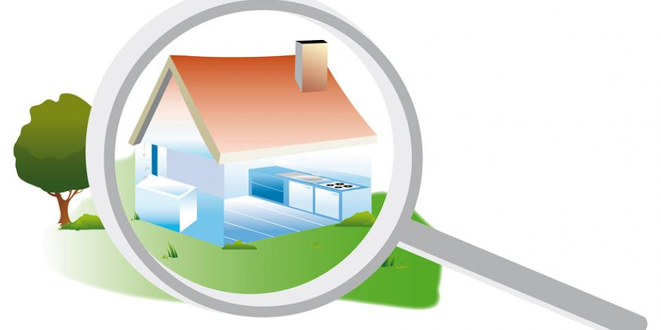 Digital graphic of magnifying glass held over home with red roof