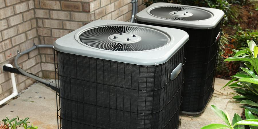Outdoor air conditioning unit on cement
